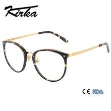 Kirka Acetate Glasses Frame Woman Round Prescription Eyeglasses Women Myopia Optical Frames Korean Metal Temple Eyewear oculos