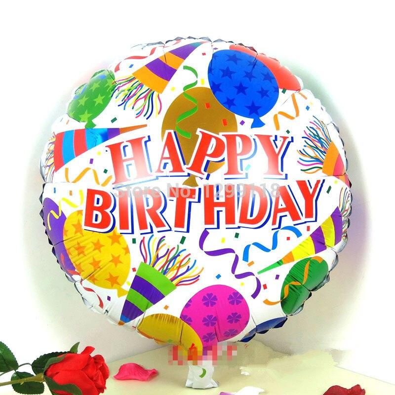 10pcs/lot 18 Inch Round Happy Birthday Helium Foil