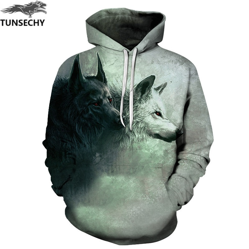 TUNSECHY Brand New Fashion Wolf Hoodies Men/women 3D Sweatshirts Print Double Wolf Hoody Hooded Hoodies Tracksuits Tops