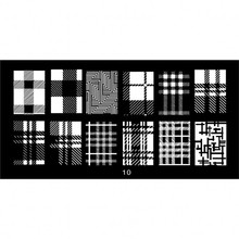 1pc 6*12CM JR-series Nail Art Image Printing Plate Black&White Grids Design Stamping Plates Polish Templates #10