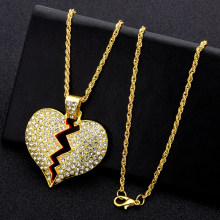 Fashion Women Broken Heart Iced Out Chain Pendant Necklace Statement Gold Color Cubic Zircon Necklaces Hip Hop Men's Jewelry(China)