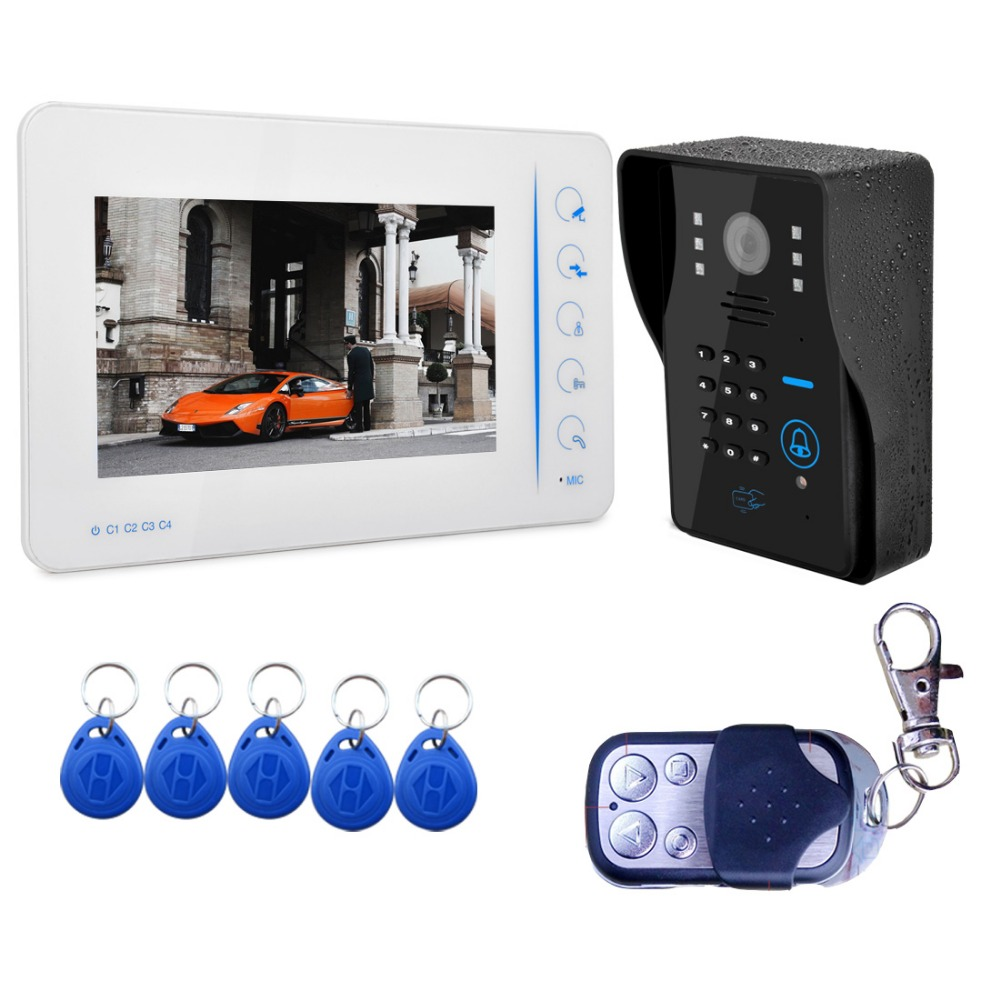 7 Video Door Phone Intercom Doorbell Touch Button ID Card/Code/Remote Unlock Night Vision Rainproof CCTV Camera