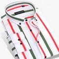 Caiziyijia 2017 homens chegada novo multi vertical vestido listrado camisas de manga longa slim-fit botão-down britânico camisa