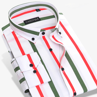 CAIZIYIJIA 2017 New Arrival Men S Multi Vertical Striped Dress Shirts Long Sleeve Slim Fit Button