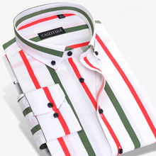 Men's Casual Contrast Multi Vertical Striped Shirts High-quality Long Sleeve Slim-fit Button Down Dress Shirts Without Pocket
