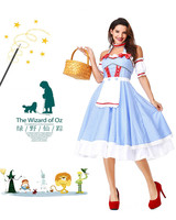 Halloween The Wizard of OZ Women Dorothy Gale Blue Dress DG girl costume with hair bands Drama Dorothy dress