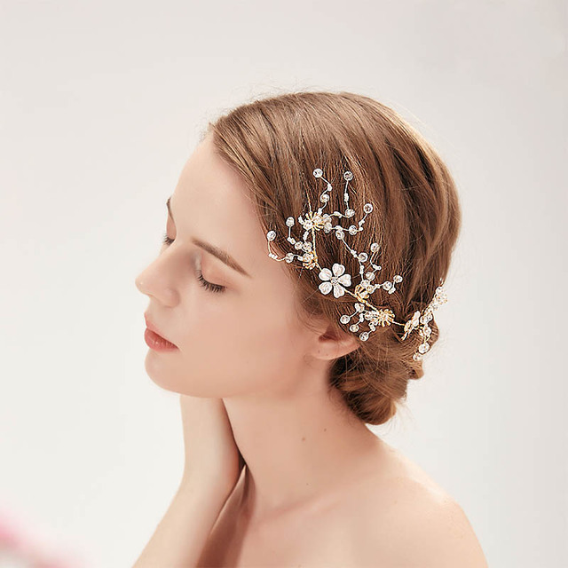 d764ad297 Oro de diamantes de imitación de cristal diadema cabeza de flor nupcial  Tiaras joyería del pelo boda pelo pieza pelo accesorios LB