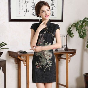 Image 4 - New Women Chinese Embroidery Designs Cheongsam Dress Oriental Style Gold Thread Phenix Qipao Short Low Slits 4XL Plus Size Xxxxl