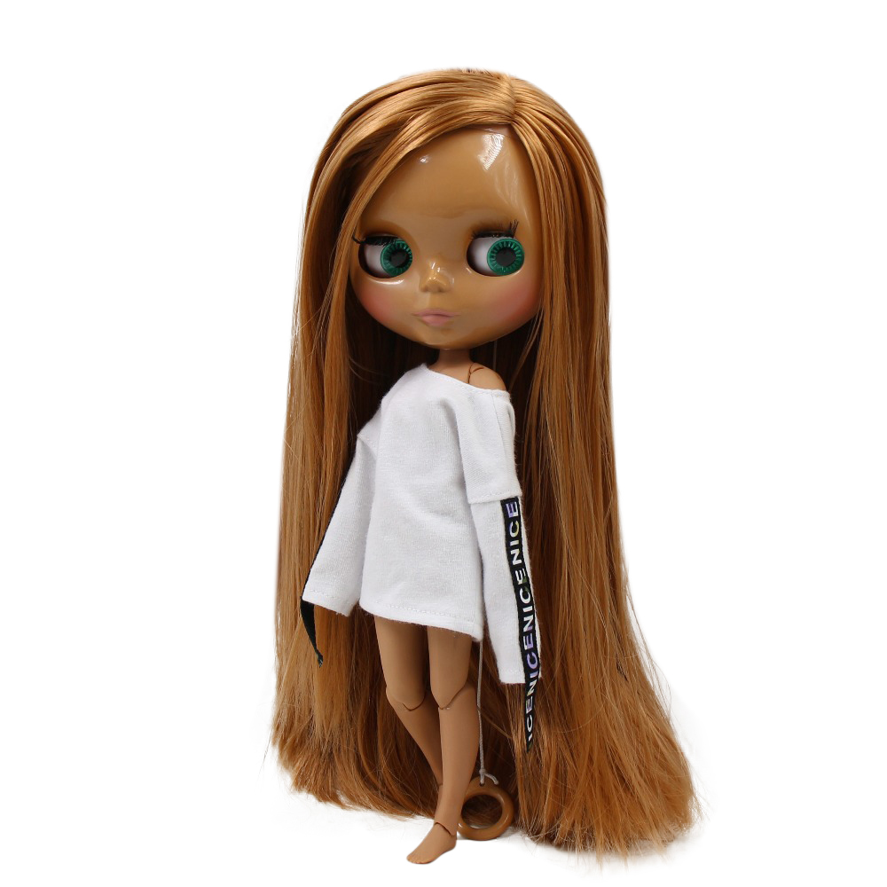 Blyth Doll For Series No 230BL03560623 JOINT BODY bangs Brown hair Black skinSuitable For DIY Change