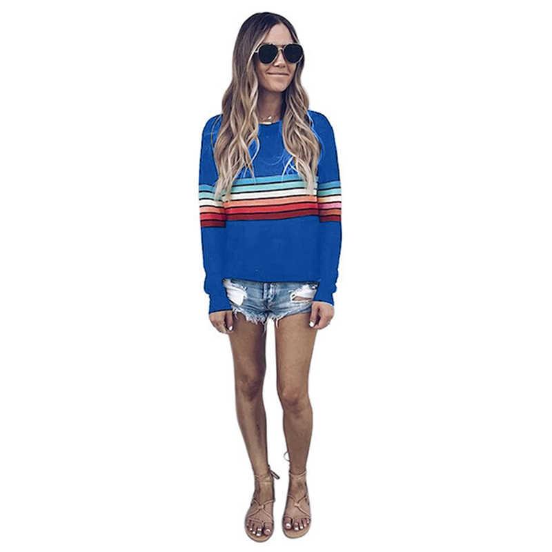 ผู้หญิงสีบล็อกลายเสื้อยืดสายรุ้ง O คอพื้นฐาน T เสื้อเสื้อ Tops สุภาพสตรีฤดูใบไม้ผลิฤดูใบไม้ร่วงหลวมเสื้อยืด