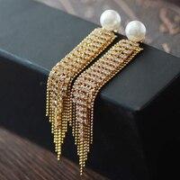 Earring Stud Post Women Tassel Long Ear Accessories Clear Crystal Gold Plated Nickel Free Fashion Jewelry