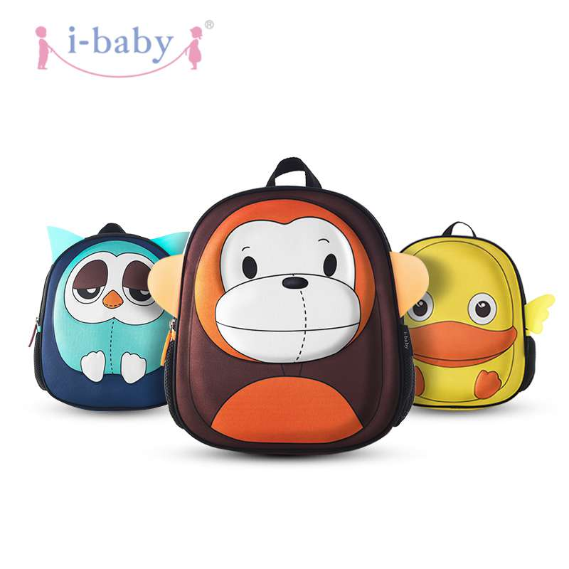 i-baby 3D Animal Design Kids Backpack Waterproof Schools Baby Toddler Kindergarden Lunch Box Carry Bag, Ages 2+, Monkey,2 Colors