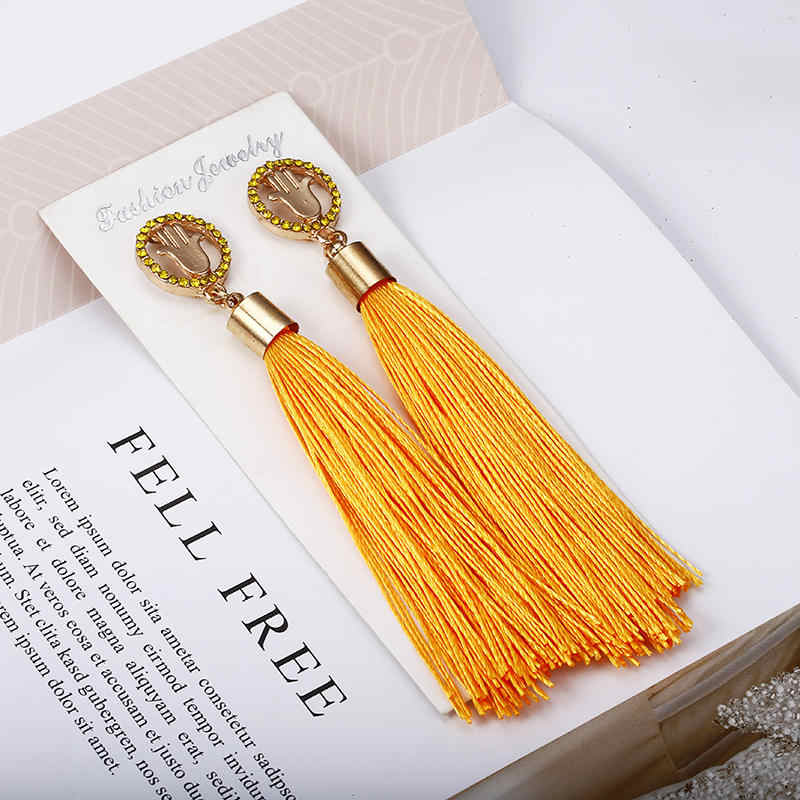 Bohemian Crystal Tassel Earrings Black White Blue Red Pink Silk Fabric Long Drop Dangle Tassel Earrings For Women Jewelry E0425