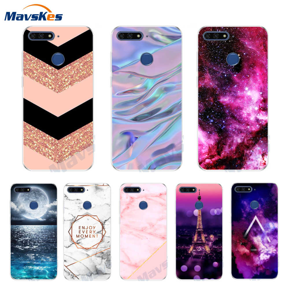 "Silicone Cover For Huawei Honor 7C 5.7"" 7A 5.45"" Case Printing Marble TPU Case For Huawei Honor 7A Honor7C 7 A Fundas Coque"