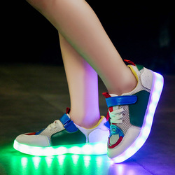Boys & Girls Shoes With LED Two Wheels Fashion Sports Casual Breathable Kids Roller Sneakers With USB Chargeable For Children