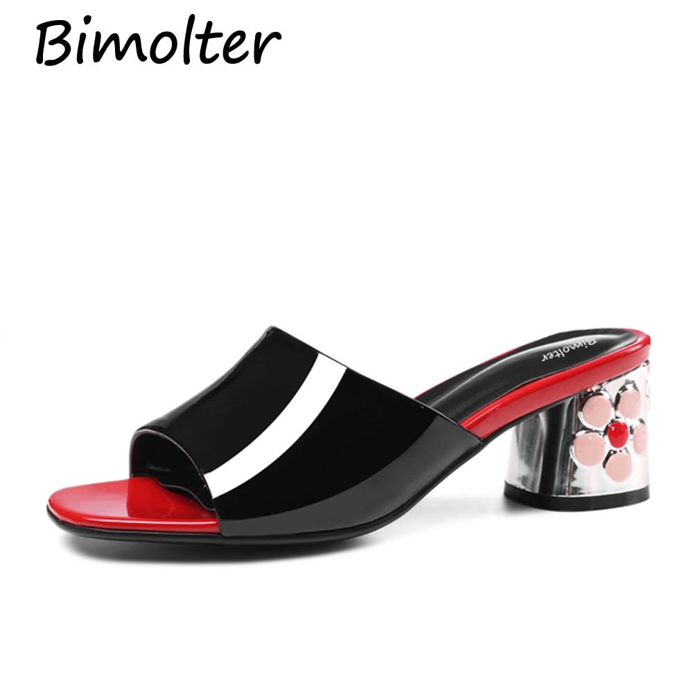 Bimolter Nove cvetlične kvadratne pete čevlji moda 5,5 cm poletne - Ženski čevlji