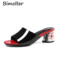 Bimolter New Floral Square heels shoes fashion 5.5cm summer sandals Casual Flowers cow leather women shoe big size 34-43 LSSA002