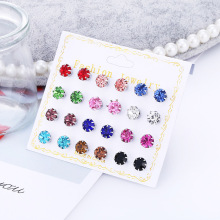 HOCOLE 12 Pairs Women Round Crystal Rhinestone Stud Earrings For Ball Metal Pearl Earring Sets Fashion Jewelry Girls Gift