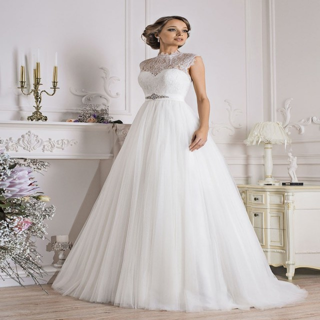 Modern Country Vintage Lace Sheer High Neck Wedding Dresses Modest ...