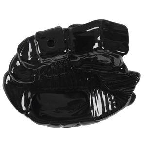 Image 5 - Soporte quemador de incienso de flor de loto de cerámica caliente #37 negro
