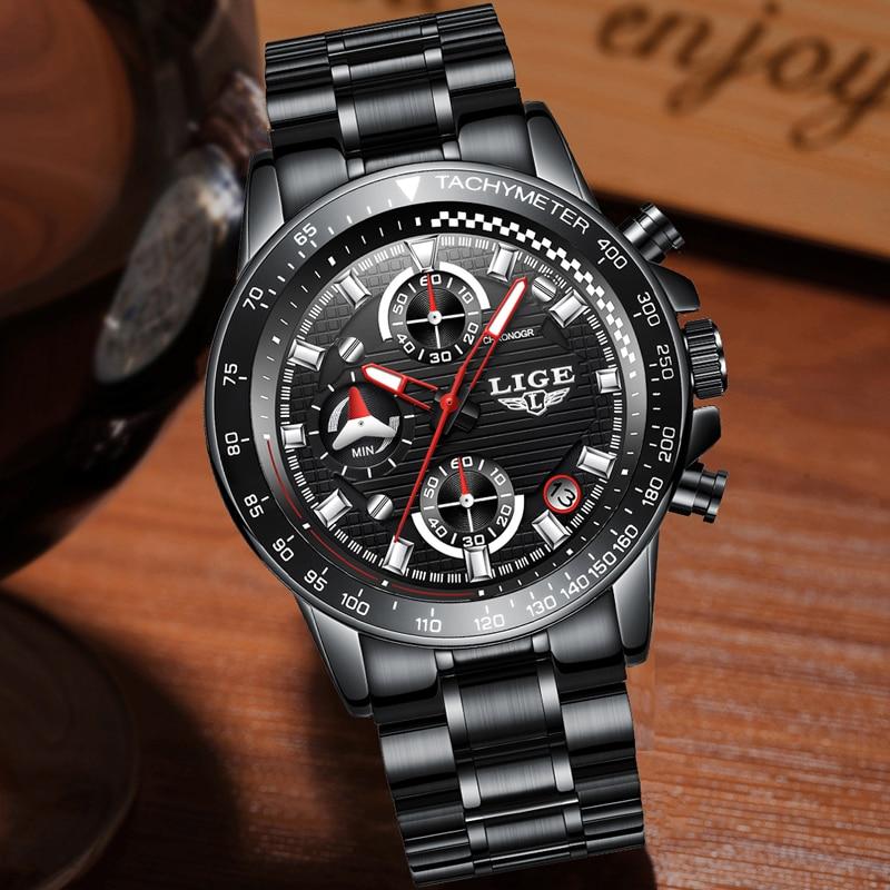 0e1882ebb93 LIGE Mens Watches Top Brand Luxury Fashion Business Quartz Watch Men Sport  Full Steel Waterproof Black Clock relogio masculino - aliexpress.com -  imall.com