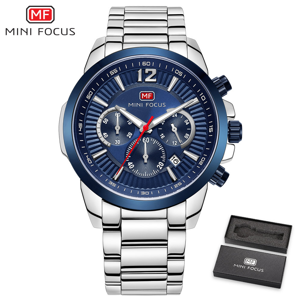 MINI FOCUS Top Brand Luxury Men Quartz Watch Stainless Steel Strap Ocean Dial 3D Design Calendar Fashion montre homme + BOX