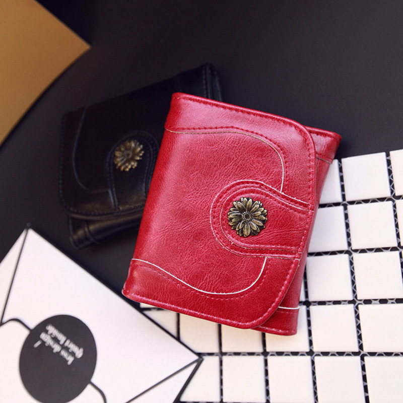 Hot Sale Vintage Women Short Wallets Small Wallet Coin Pocket Credit Card Wallet Female Purses Money Clip st8599-1 hot sale owl pattern wallet women zipper coin purse long wallets credit card holder money cash bag ladies purses