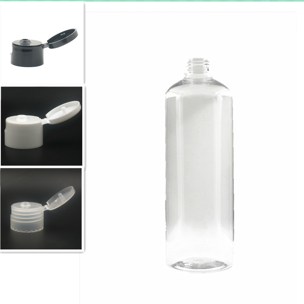 Empty White/black Dispensing Caps Plastic Bottles, 500ml Clear PET Bottle With Flit Top Cap