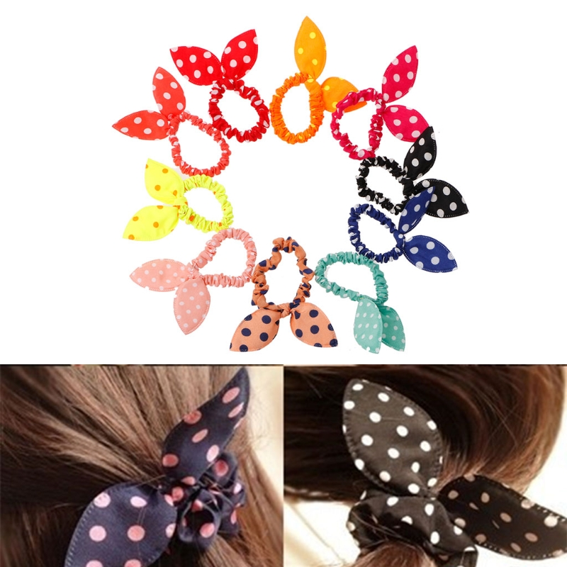 Dedicated 10 Pcs/lot Bowknot Wave Point Hair Tie/ring/circle/band Elastic Rubber Ponytail Holder Hair Accessories Convenience Goods Women's Hair Accessories