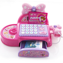 Kids Supermarket Cash Register Simulated Role Play Toy Girl Birthday Gift Multi-functional Cash Toys With Calculator and Scanner