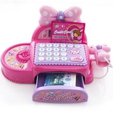 Çocuk süpermarket yazarkasa simüle rol oynamak oyuncak kız doğum günü hediyesi çok fonksiyonlu nakit oyuncaklar hesap makinesi ve tarayıcı