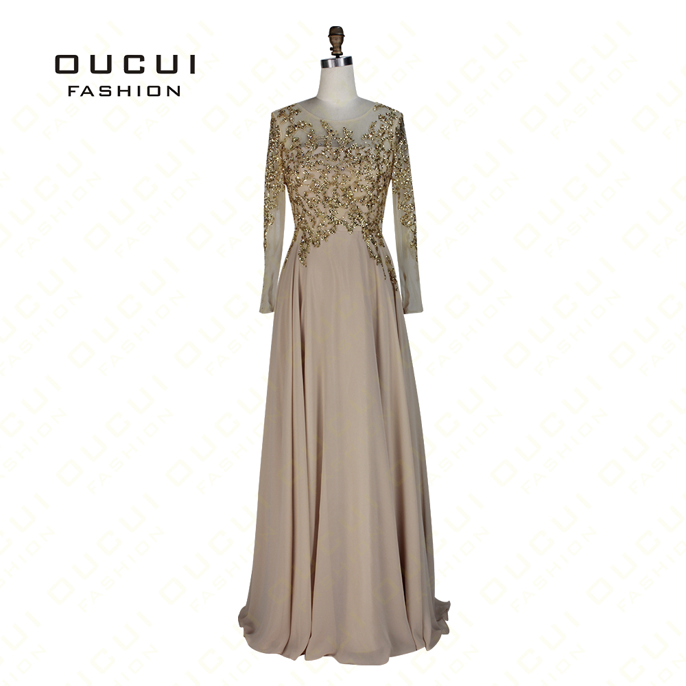 Real Photos Tulle See Through Gold Color Long Sleeve Elegant Prom
