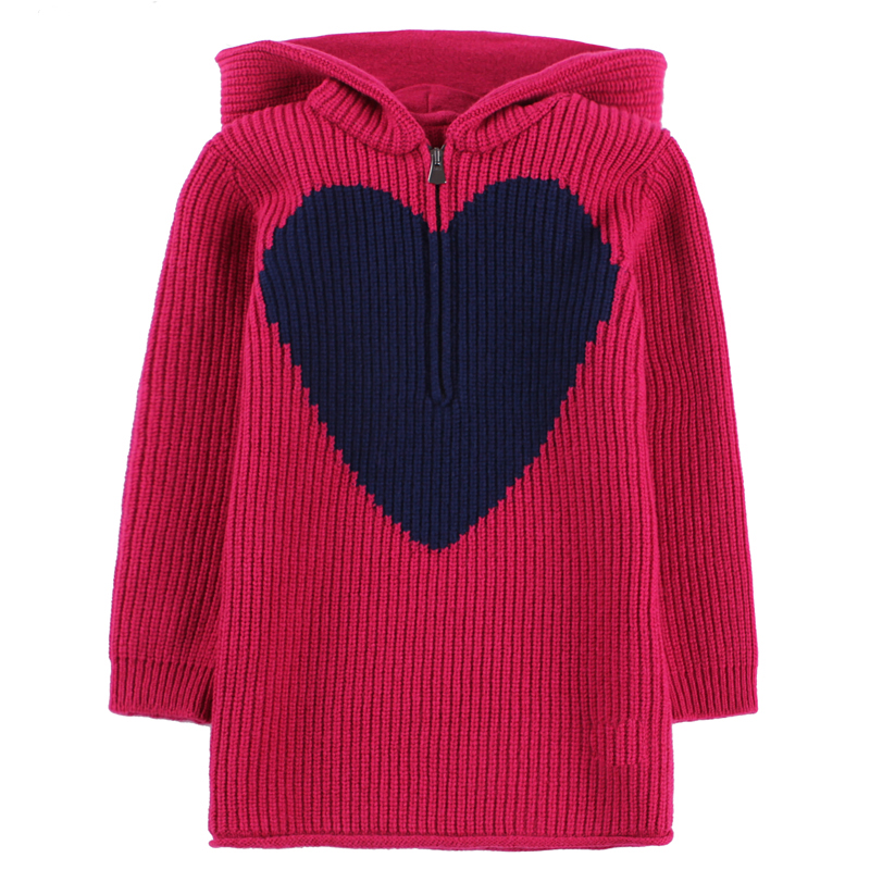 Adult and kid's hooded sweater gir's High quality rose casual sweater longline hooded chunky sweater page 1