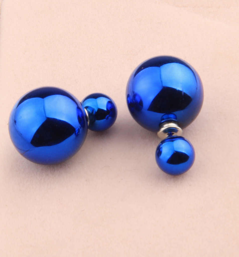 Nowe kobiety śliczne dwustronny kolczyk Stud kobiety Ball Piercing biżuteria