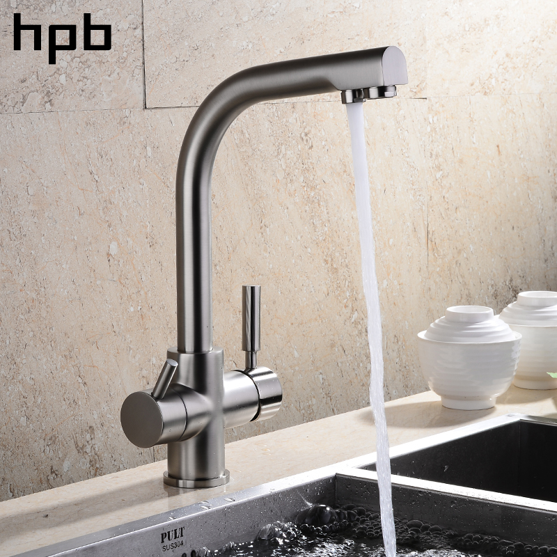 HPB Solid Brass 2 Holes Drinking Pure Water Kitchen Faucet 3 Way Swivel Single Lever Sink Mixer Water Filter Tap HP4302