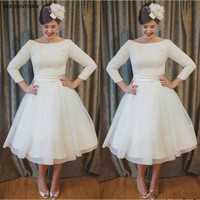 Boho Ivory Short Wedding Dress 2019 Vestidos De Noiva Tea Length Lace Vintage Bride Dresses Summer Beach Bridal Gowns