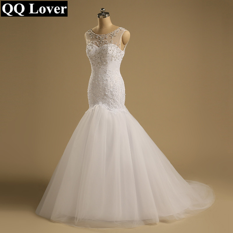QQ Lover 2019 New African Mermaid Wedding Dress Luxury Beading Lace Wedding Gown