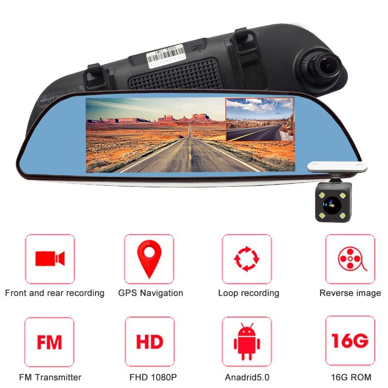 "Bluavido 4G ADAS Android DVR 7"" Rear View Mirror GPS Car Video Recorder FHD 1080P Dash Cam With Reverse Camera WiFi Live Monitor"