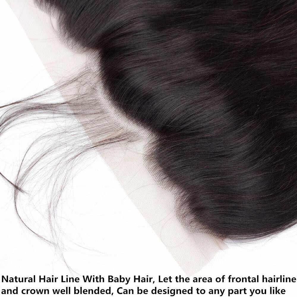 Pelo brillante pelo lacio 13*4 encaje cierre Frontal brasileño cabello humano parte libre con pelo de bebé 100% remy Color Natural