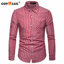 Covrlge Long Sleeve Men's Striped Dress Shirts Social Turn-down Collar with Pocket Fit Business Male Smart Casual Shirt MCL188 striped long shirt with chest pocket