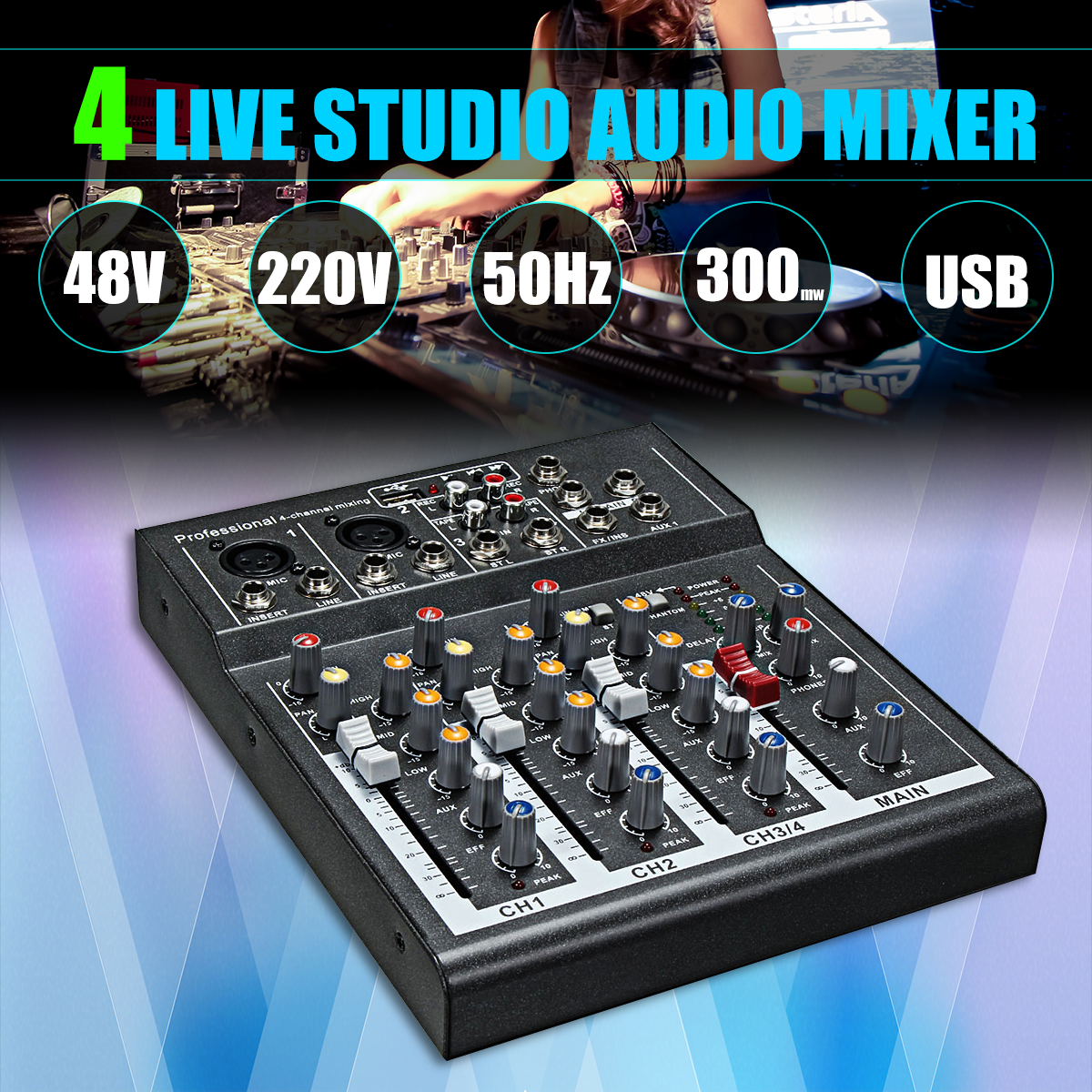 Karaoke Mixer Professional 4 Channel Studio Audio DJ Mixing Console Amplifier Digital Mini Microphone Sound Mixer Sound Card