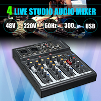 Karaoke Mixer Professional 4 Channel Studio Audio DJ Mixing Console Amplifier Digital Mini Microphone Sound Mixer Sound Card