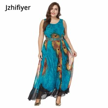 купить women mujer maxi summer dress one piece sexy O-neck sleeveless pareo sarong kaftan peacock blue dress holiday plus size XL-8XL дешево