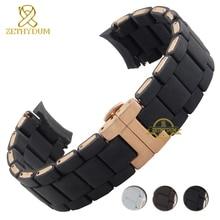 Correa de silicona de goma para reloj pulsera de silicona, hebilla de oro rosa para AR5905 AR5906 AR5919 AR5920 20 23mm