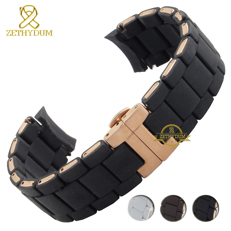 Silicone Rubber Watchband Silicone Wristband Bracelet Rose Gold Buckle For AR5905 AR5906 AR5919 AR5920  20 23mm Watch Band Strap