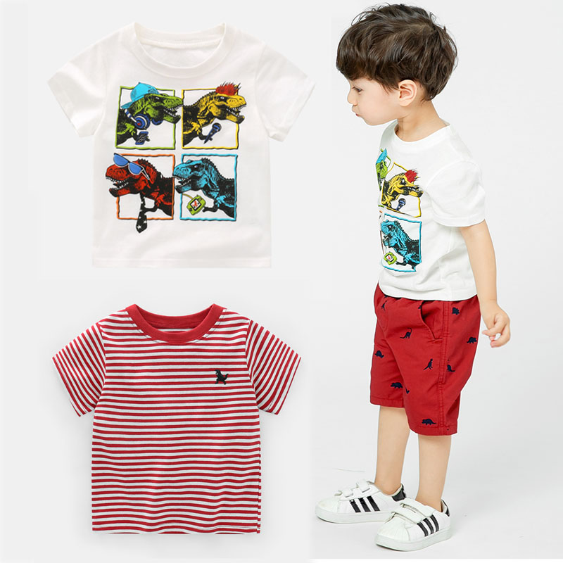 aa1b89d2 Kids Tops Dinosaur Pattern Boys Short Sleeve T-shirt 2-7 Years Boys Summer