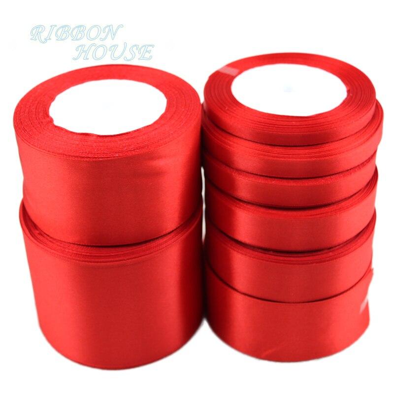 (25 ярдов/рулон) Красная атласная лента с одним лицом оптовая продажа подарочная упаковка рождественские ленты