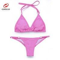 Triangle Top Women Swimwear Padding Brazilian Bottom Plait Lace Up Patchwork Biquinis Sexy Bikini High Quality