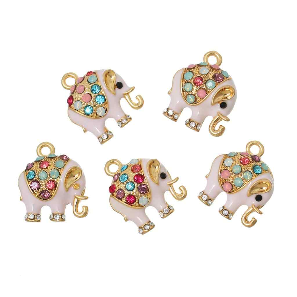 DoreenBeads Zinc metal alloy Charm Pendants Elephant Gold Color Pink Multicolor Rhinestone Enamel 18mm x 15mm ,1 Pc 2016 new