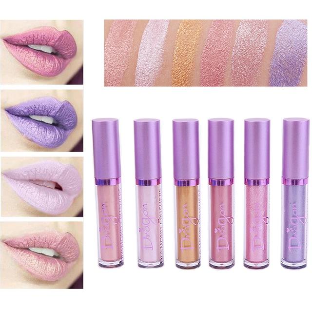 Dragon Ranee Brand Gold Pink Metallic Liquid Lipstick Waterproof Long Lasting Pintalabios Glitter Lip Gloss Matte Lips Makeup